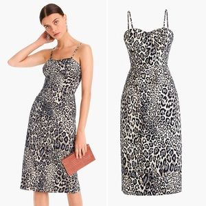 J Crew Collection Strappy Bodice Dress Leopard 8